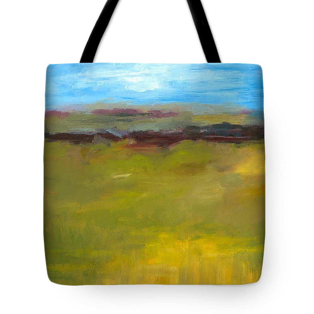 Abstract Expressionism Tote Bag featuring the painting Abstract Landscape - The Highway Series by Michelle Calkins
