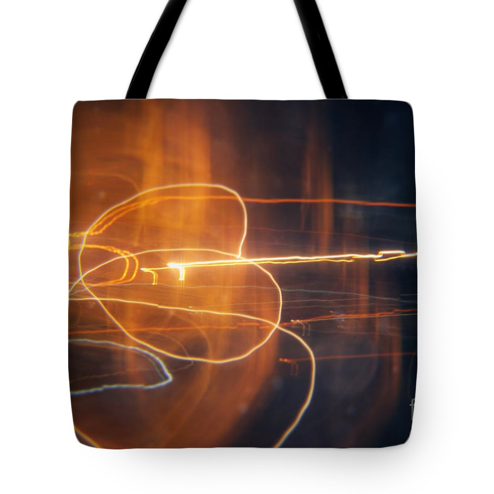 Circles Tote Bag featuring the painting Abstract Light Streaks by Pixel Chimp
