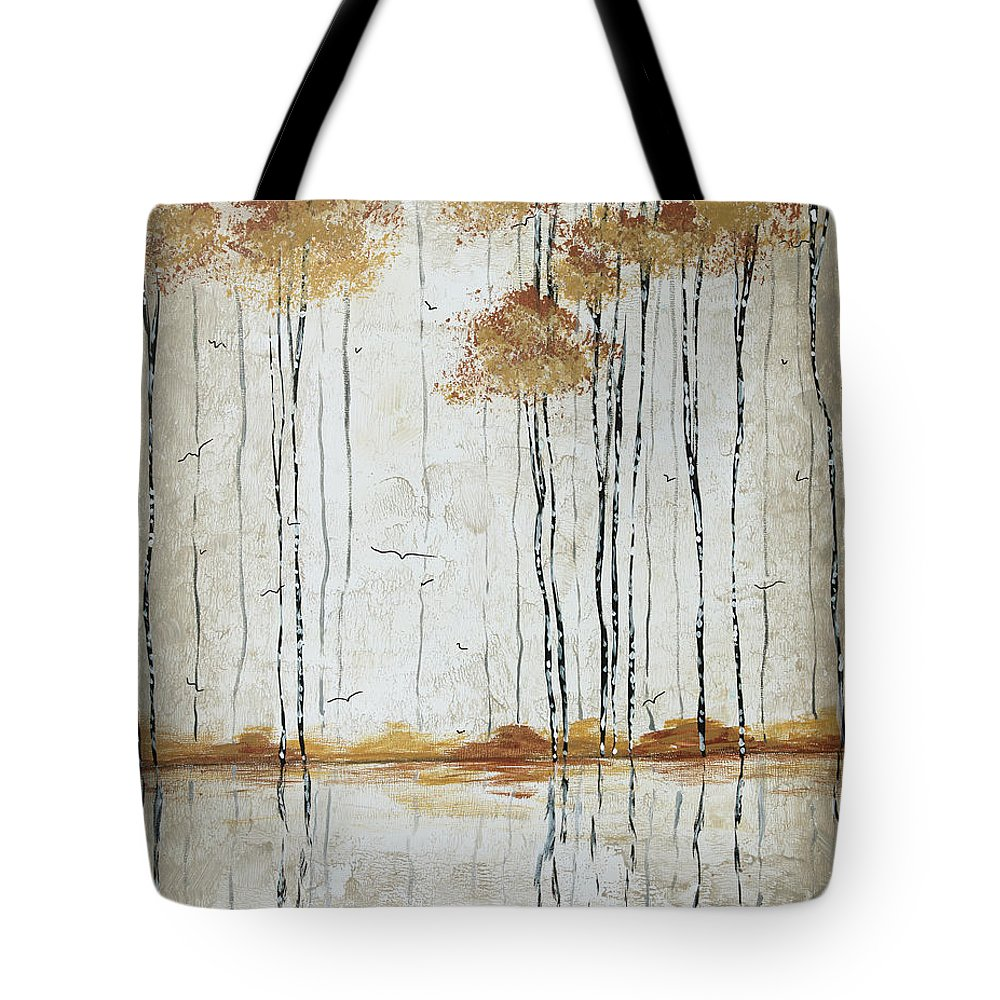 Abstract Tote Bag featuring the painting Abstract Neutral Landscape Pond Reflection Painting Mystified Dreams I By Megan Ducanson by Megan Duncanson