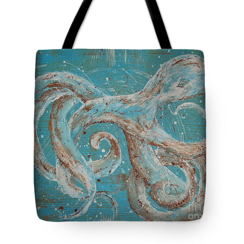 Octopus Tote Bag featuring the painting Abstract Octopus by Tamyra Crossley