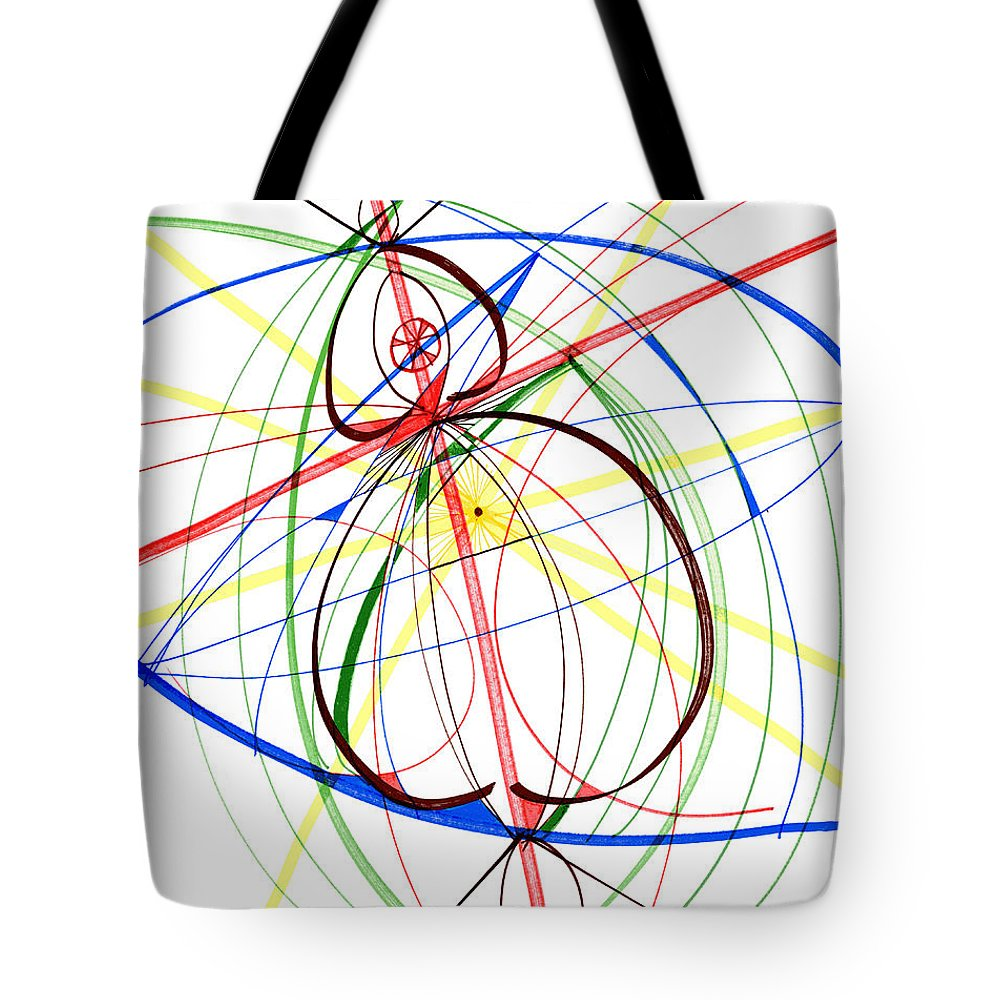 Abstract Tote Bag featuring the drawing Abstract Pen Drawing Seventy-four by Lynne Taetzsch