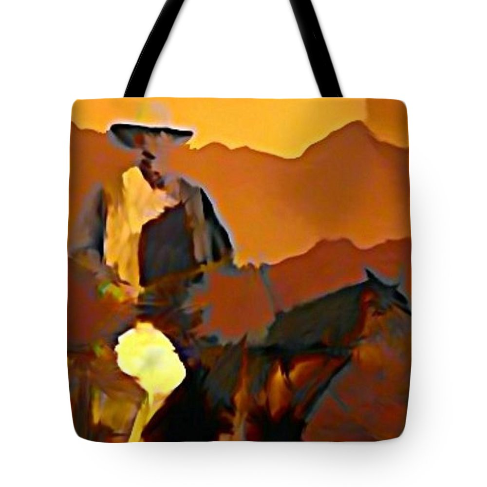 Horse And Rider Tote Bag featuring the painting Abstract Range Riding by John Malone