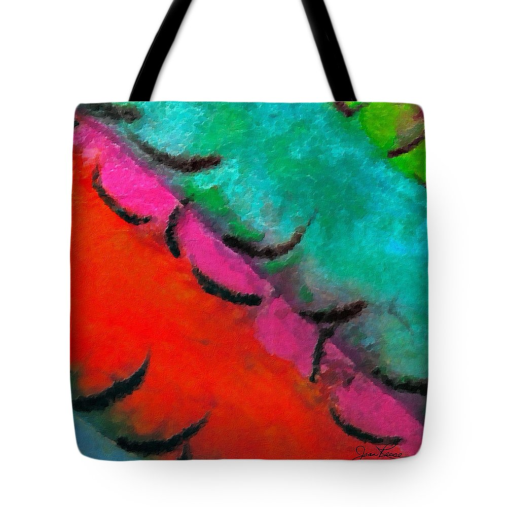 Watercolor And Chinese Black Ink. Blue Tote Bag featuring the painting Abstract Red Blue by Joan Reese