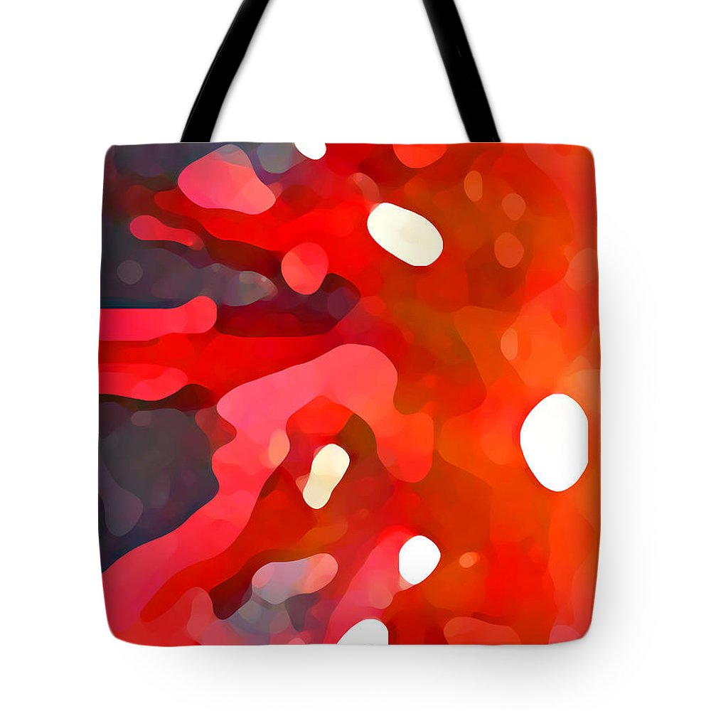 Bold Tote Bag featuring the painting Abstract Red Sun by Amy Vangsgard