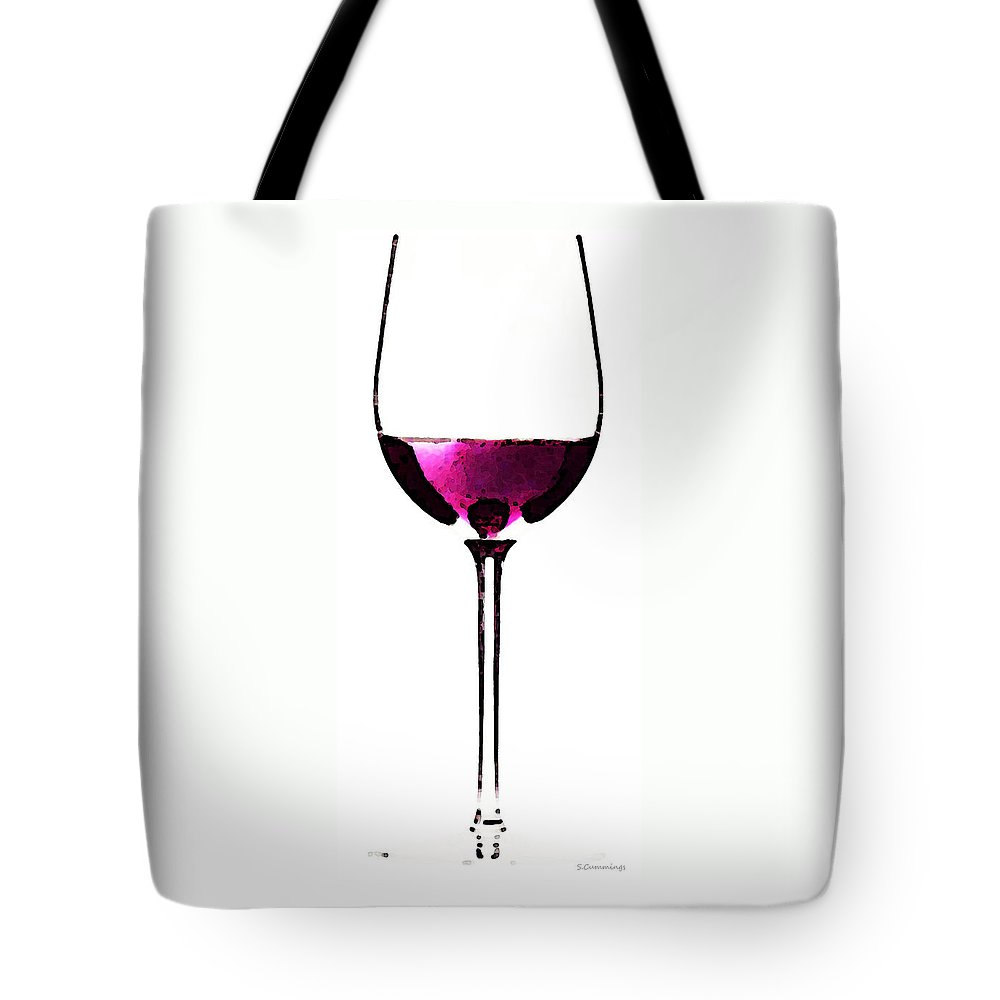 Sharon Cummings Tote Bag featuring the painting Abstract Red Wine Glass 2 by Sharon Cummings