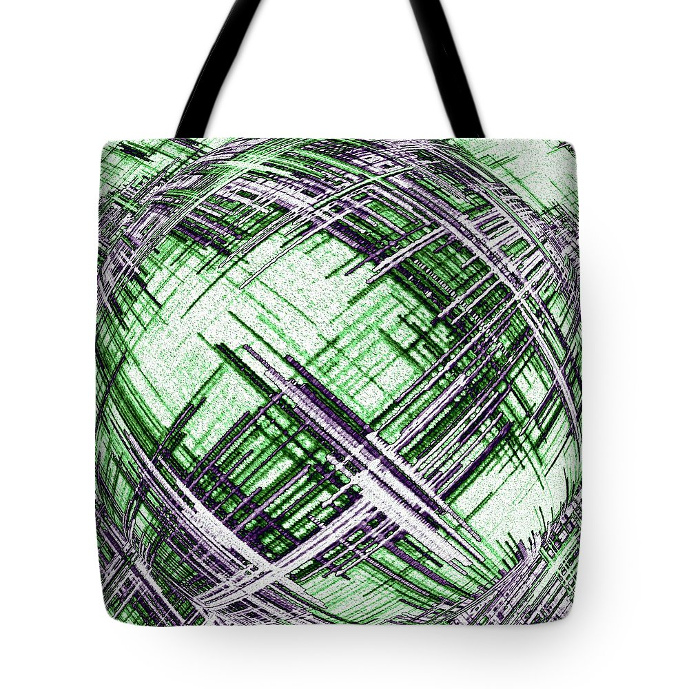 Abstract Spherical Design Tote Bag featuring the digital art Abstract Spherical Design by Will Borden