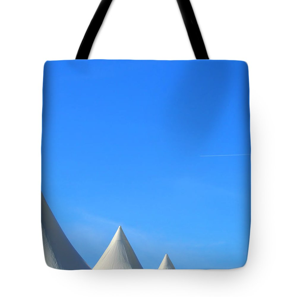 Abstract Tote Bag featuring the photograph Abstract Tent Tops by Antony McAulay