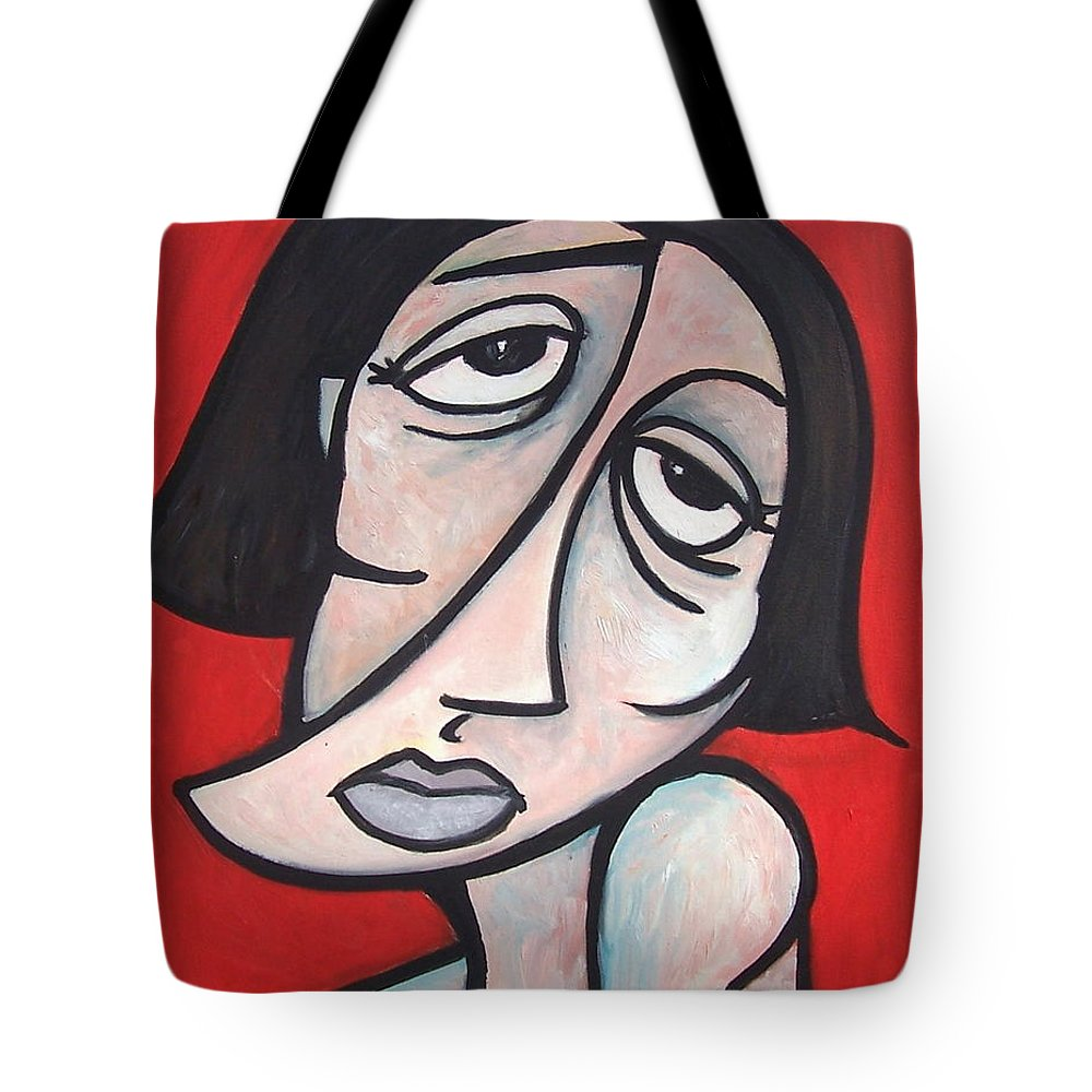 Portrait Tote Bag featuring the painting Abstract by Thomas Valentine