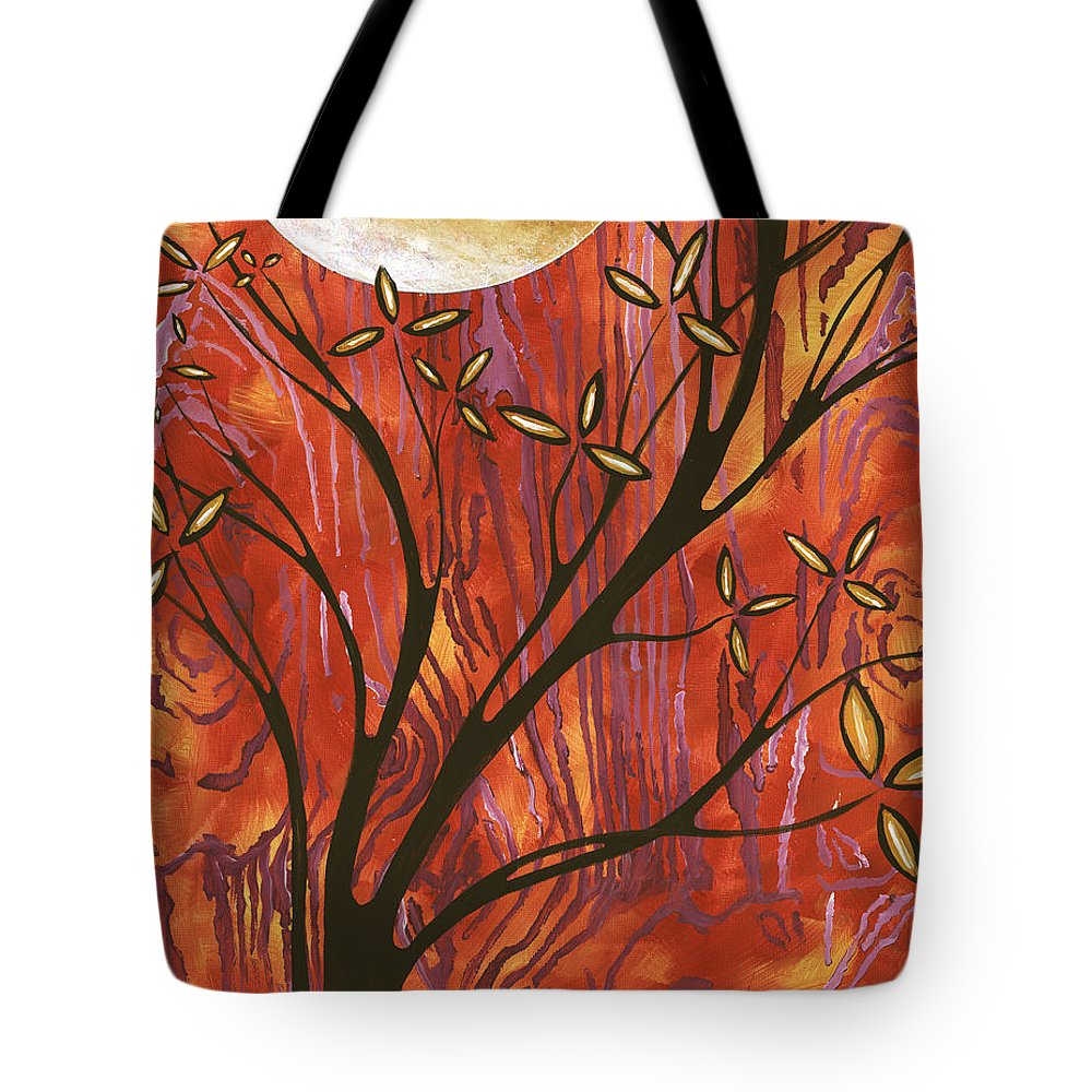 Abstract Tote Bag featuring the painting Abstract Wood Pattern Painting Original Landscape Art Moon Tree By Megan Duncanson by Megan Duncanson
