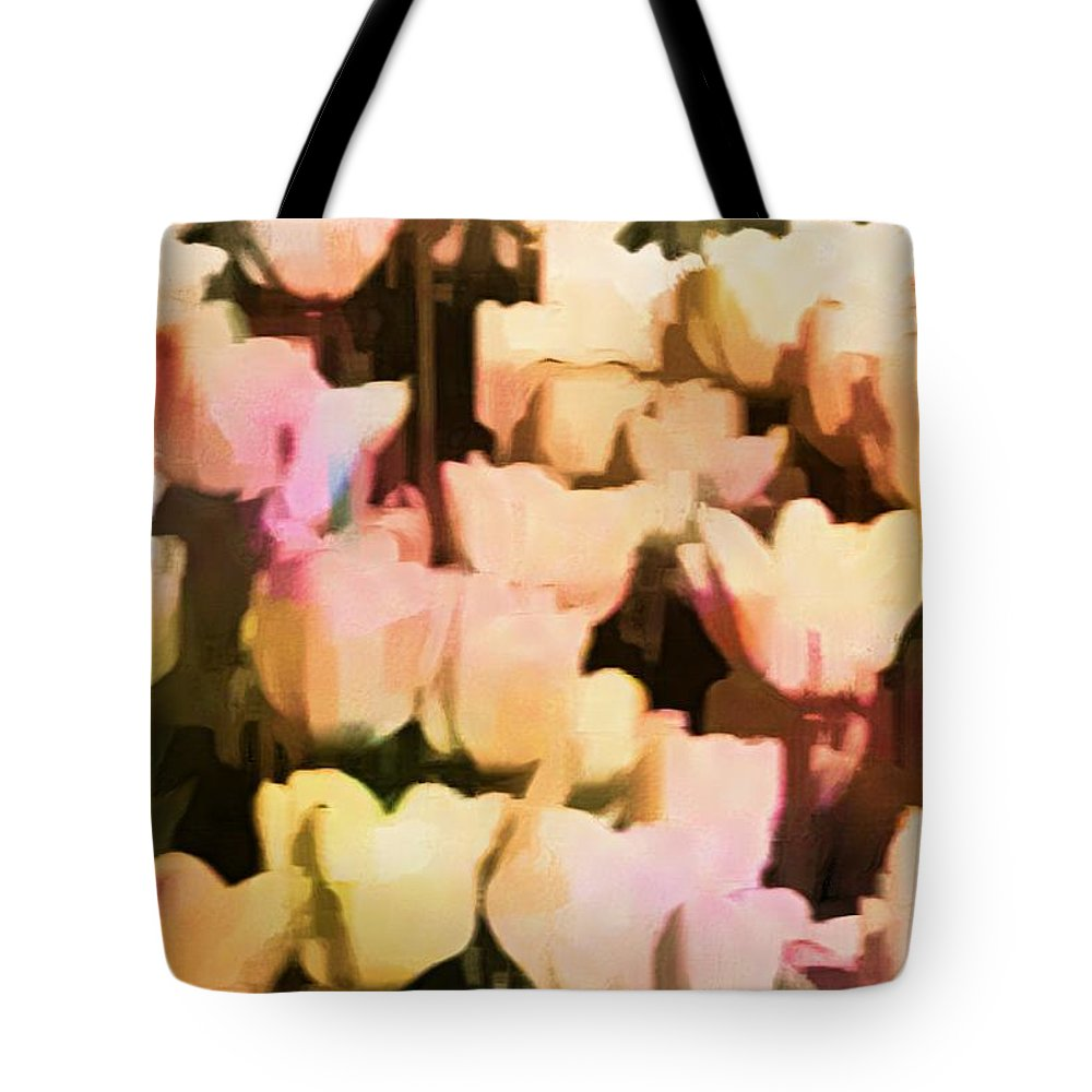 Tulips Tote Bag featuring the photograph Abstracted Tulips by Alice Gipson