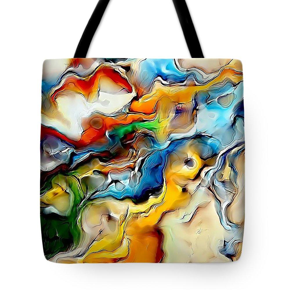 Abstract Tote Bag featuring the painting Abstraction 600-11-13 Marucii by Marek Lutek