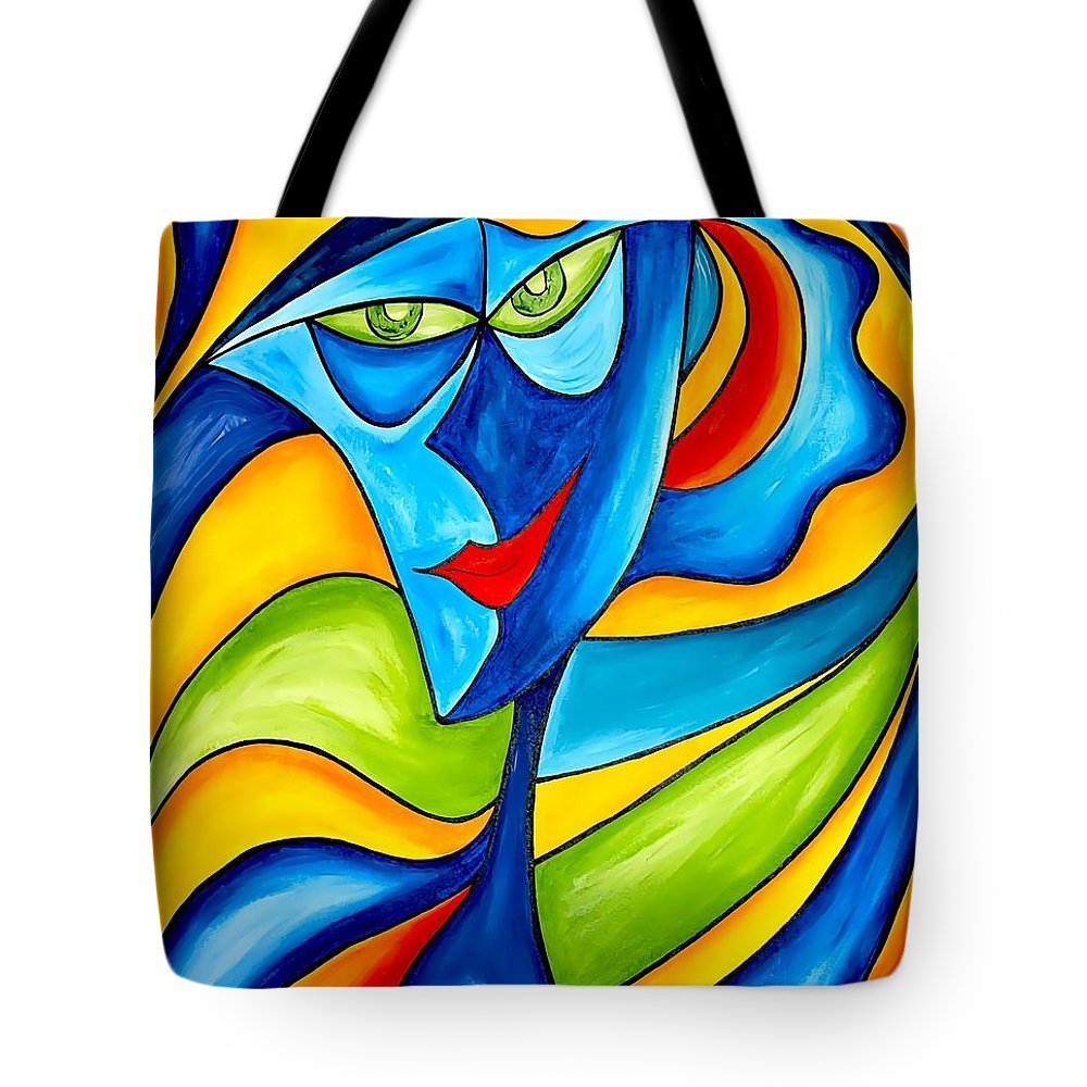 Abstraction Tote Bag featuring the painting Abstraction 757 - Marucii by Marek Lutek