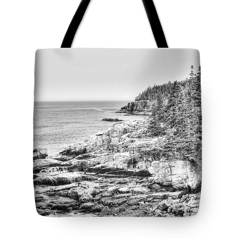 Acadia National Park Tote Bag featuring the photograph Acadia National Park In Bw by Emily Kay