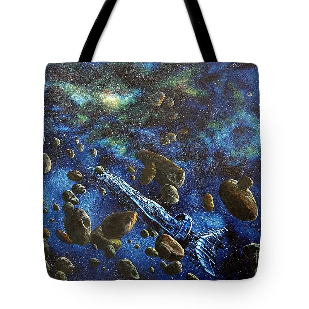 Canvas Tote Bag featuring the painting Accidental Asteroid by Murphy Elliott