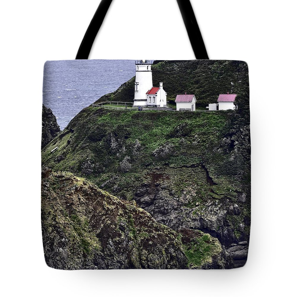 Heceta Head Tote Bag featuring the photograph Across The Ocean Blue by Image Takers Photography LLC - Laura Morgan