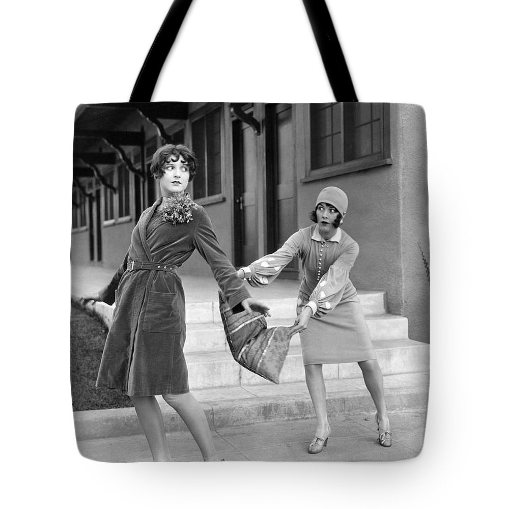 1920s Tote Bag featuring the photograph Actresses On Roller Skates by Underwood Archives