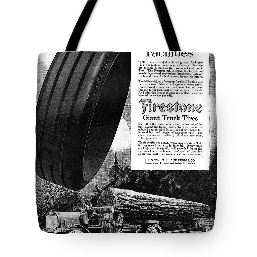 1918 Tote Bag featuring the painting Ad Firestone, 1918 by Granger