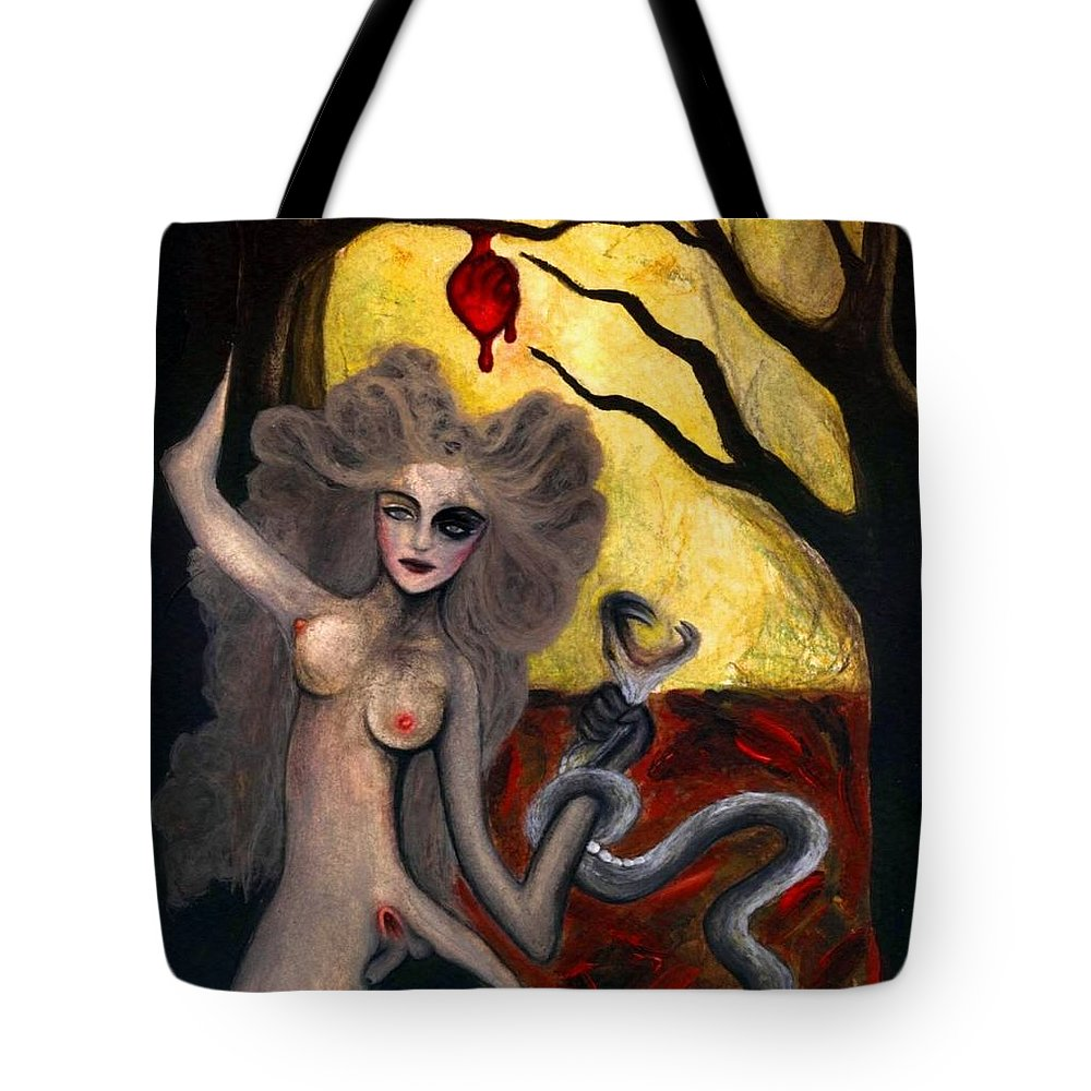 Adam Tote Bag featuring the painting Adam And Eve by Ayka Yasis