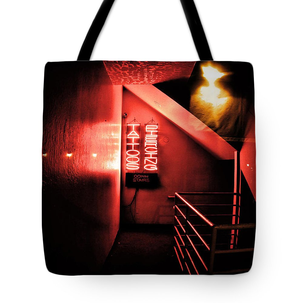 Doors Tote Bag featuring the photograph Addiction Is Waiting Up by Digital Kulprits