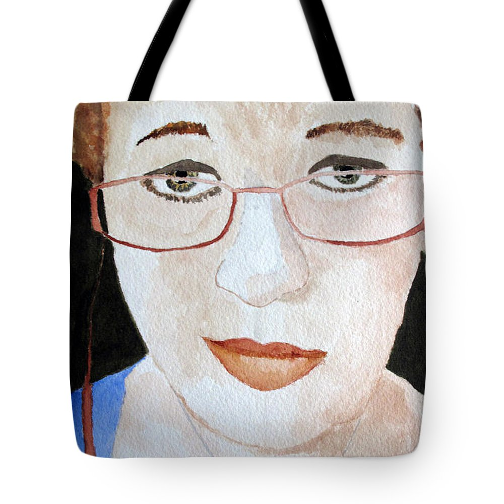 Addie Tote Bag featuring the painting Addie Two by Sandy McIntire