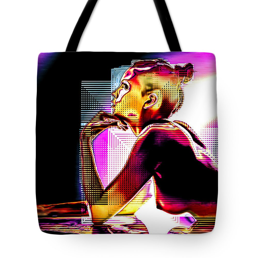 Digital Tote Bag featuring the digital art Adeline Topless 15 by maGue
