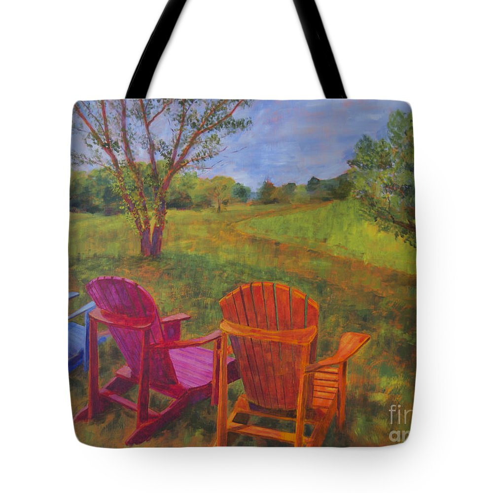 Landscapes Tote Bag featuring the painting Adirondack Chairs In Leiper's Fork by Arthur Witulski