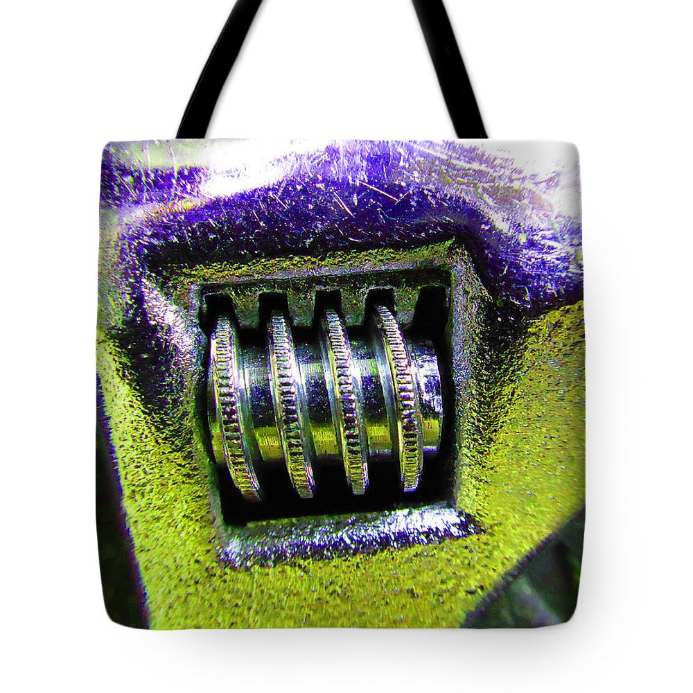 Hammer Tote Bag featuring the photograph Adjustable Wrench B by Laurie Tsemak