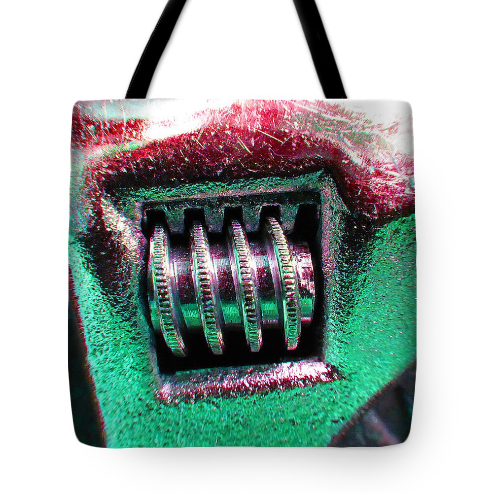 Hammer Tote Bag featuring the photograph Adjustable Wrench F by Laurie Tsemak