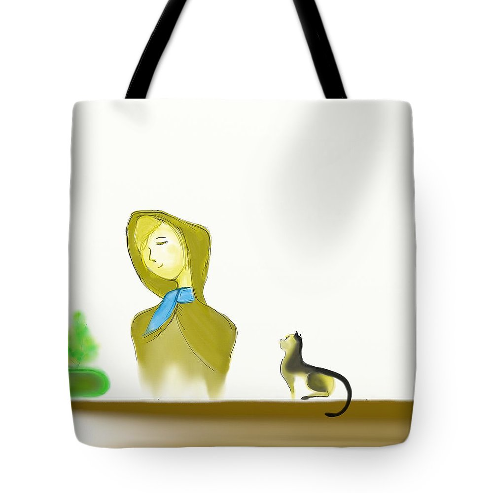 Cat Tote Bag featuring the mixed media Admire by Len YewHeng