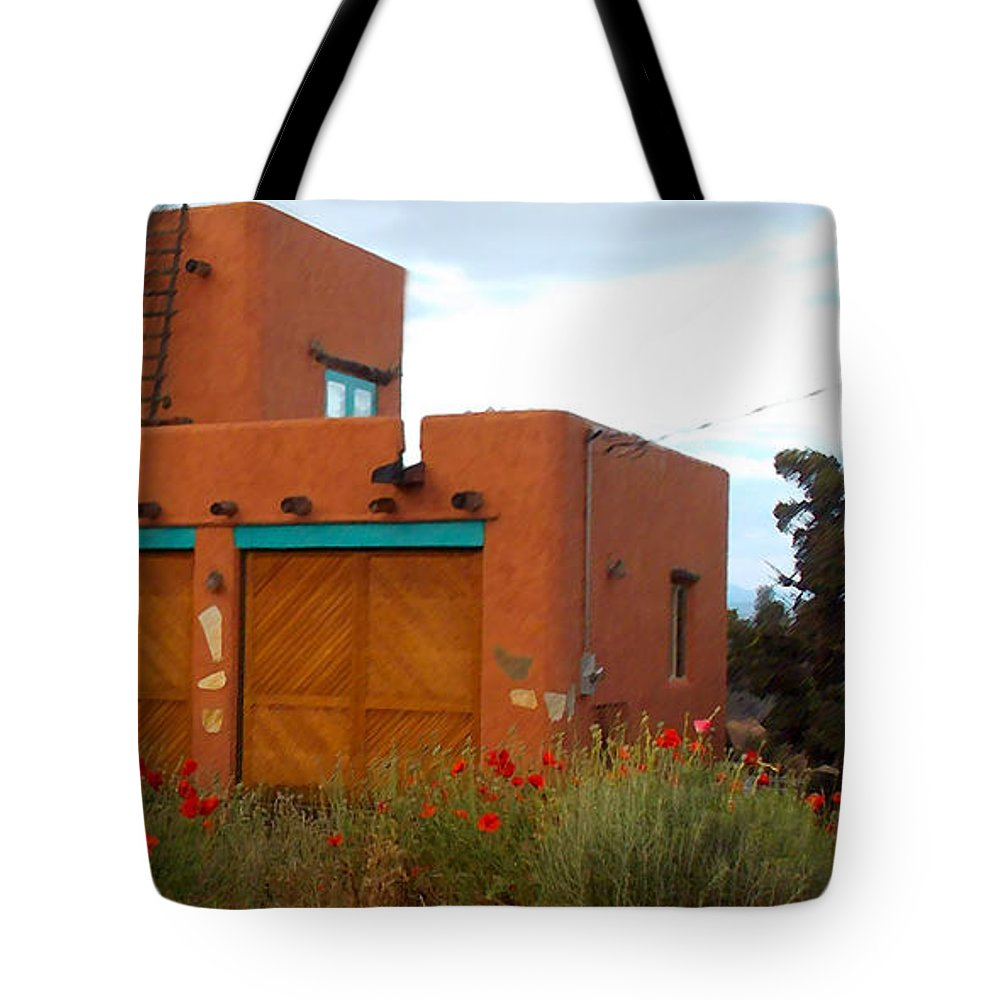 Adobe Tote Bag featuring the photograph Adobe House And Poppies by Wendy Raatz Photography