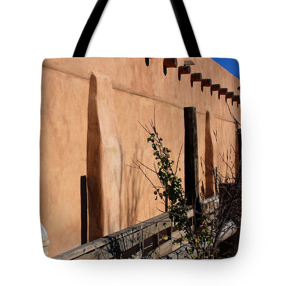Southwest Tote Bag featuring the photograph Adobe Sideyard by Joseph Schofield