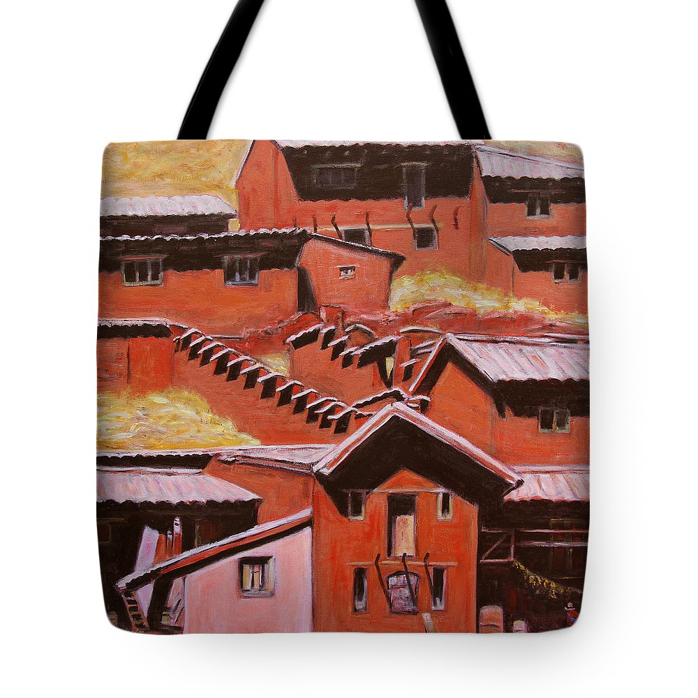 Landscape Tote Bag featuring the painting Adobe Village - Peru Impression II by Xueling Zou