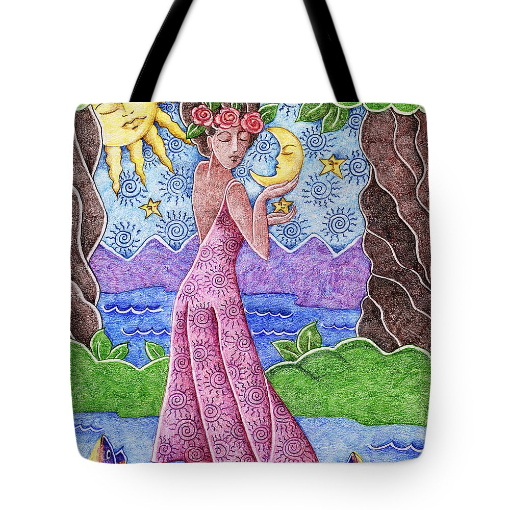 Figurative Tote Bag featuring the drawing Adorable Moon by Elaine Jackson
