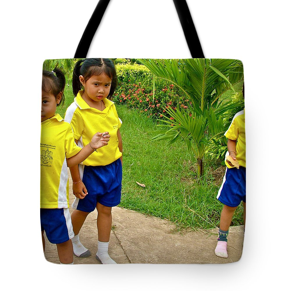 Adorable Sweethearts Welcoming Committee At Baan Konn Soong School In Sukhothai Tote Bag featuring the photograph Adorable Sweethearts Welcoming Committee At Baan Konn Soong School In Sukhothai-thailand by Ruth Hager