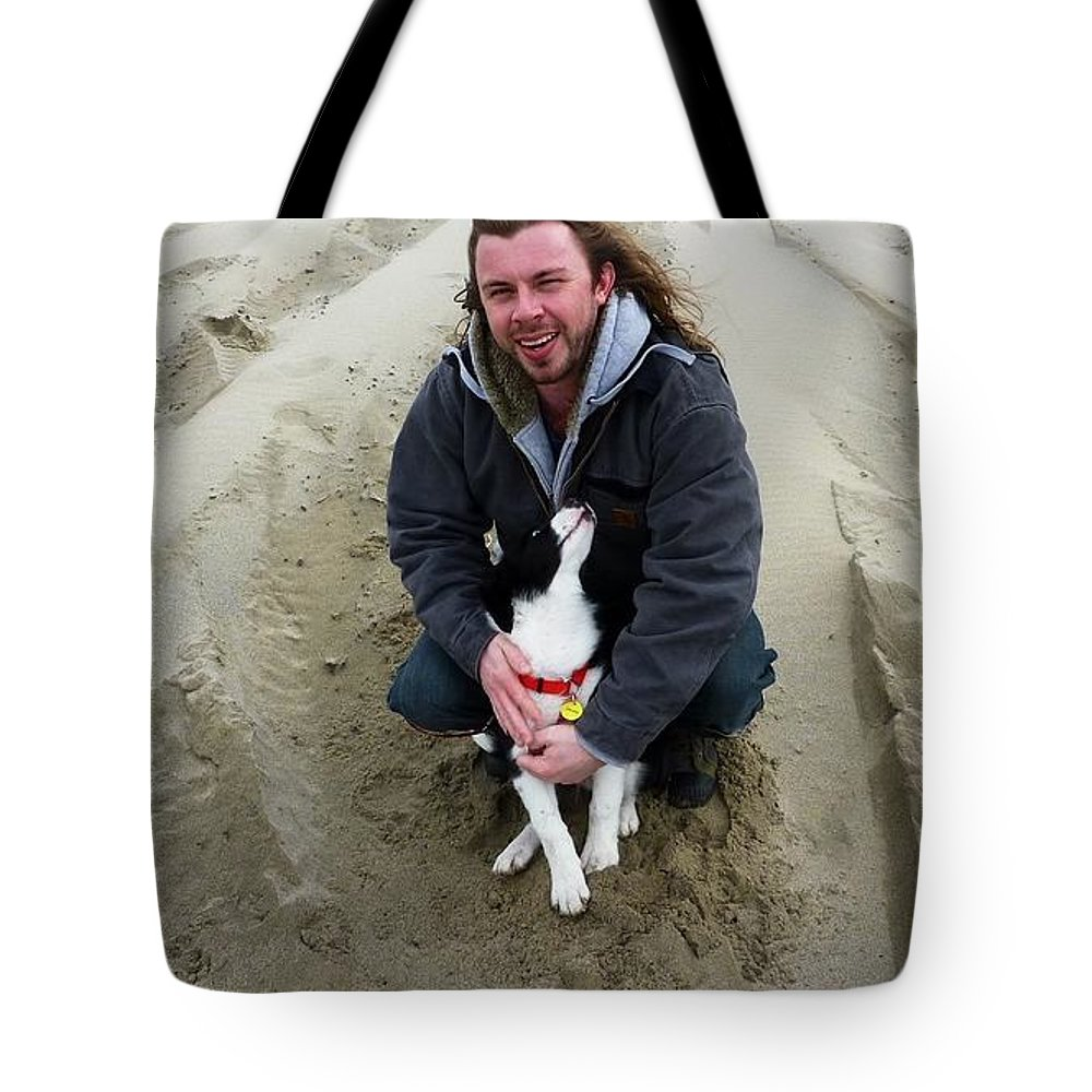 Dog And Master On The Beach Tote Bag featuring the photograph Adoring Look by Susan Garren