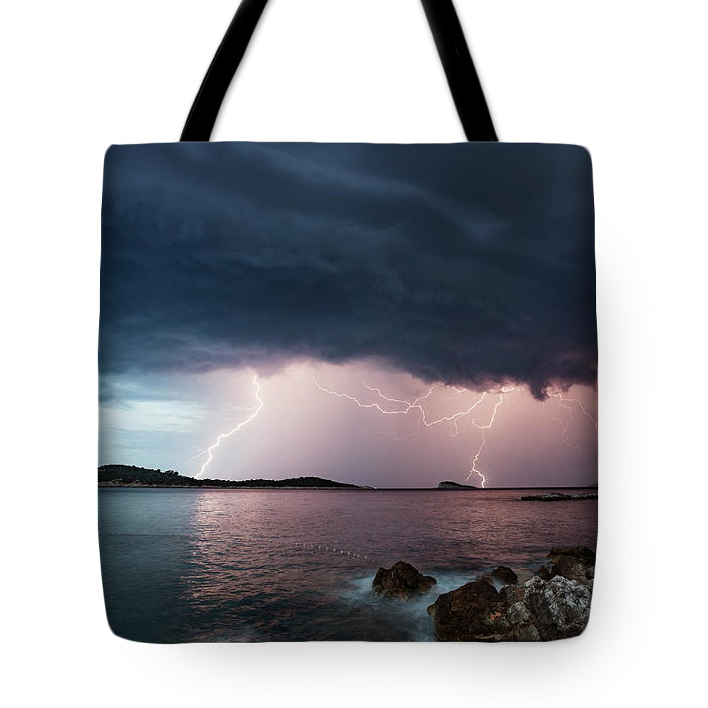 Adriatic Sea Tote Bag featuring the photograph Adriatic Lightning by Image By Chris Winsor