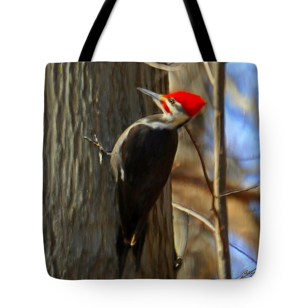 Woodpecker Tote Bag featuring the painting Adult Male Pileated Woodpecker by Bruce Nutting