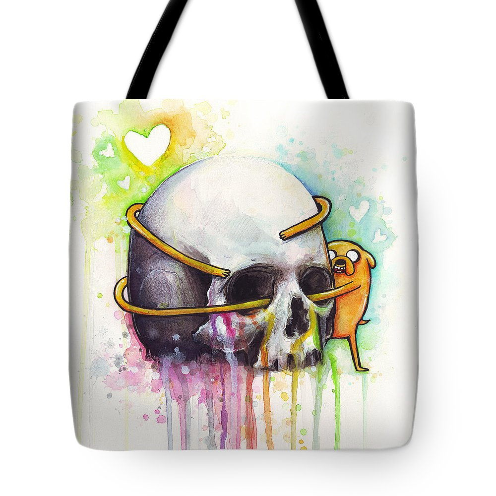 Adventure Time Tote Bag featuring the painting Adventure Time Jake Hugging Skull Watercolor Art by Olga Shvartsur