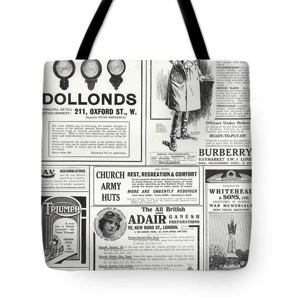 Dollonds; Barometers; Burberry; Coats; Triumph; Motorcycles; Cawarra Australian; Wine; Church Army Huts; Whitehead; Sons; War; Memorials; Adair Ganesh; Preparations; Mothersill's Seasick Remedy; Advertising; Advertisements; Century; Advertising; Spread; The Sphere Tote Bag featuring the painting Advertising Spread From The Sphere by English School