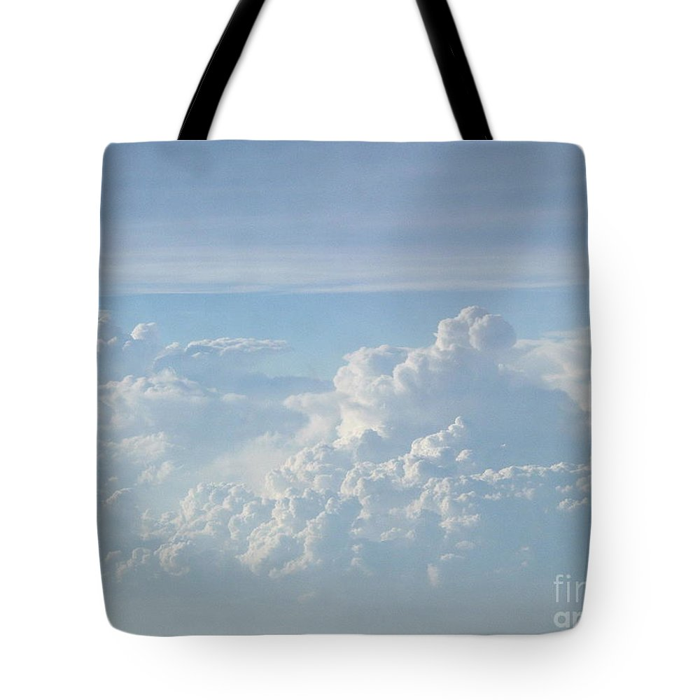 Skyscape Clouds Photographs Canvas Prints Blue Sky Aerial Formation High Elevation Turbulance Altitude Skyscape Prints Cloudscape Posters Blue Skies Tote Bag featuring the photograph Aerial Formation by Joshua Bales