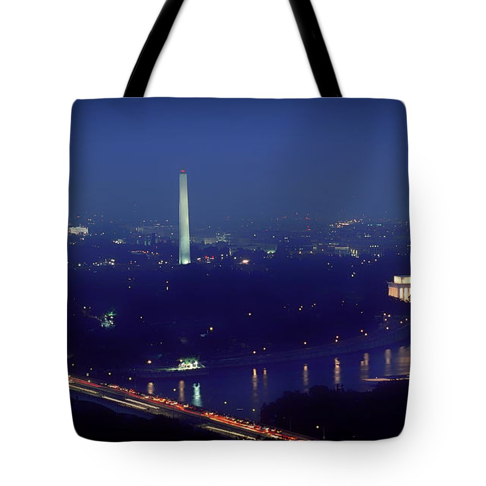 Washington Tote Bag featuring the photograph Aerial Night View Of Washington Dc by Mountain Dreams