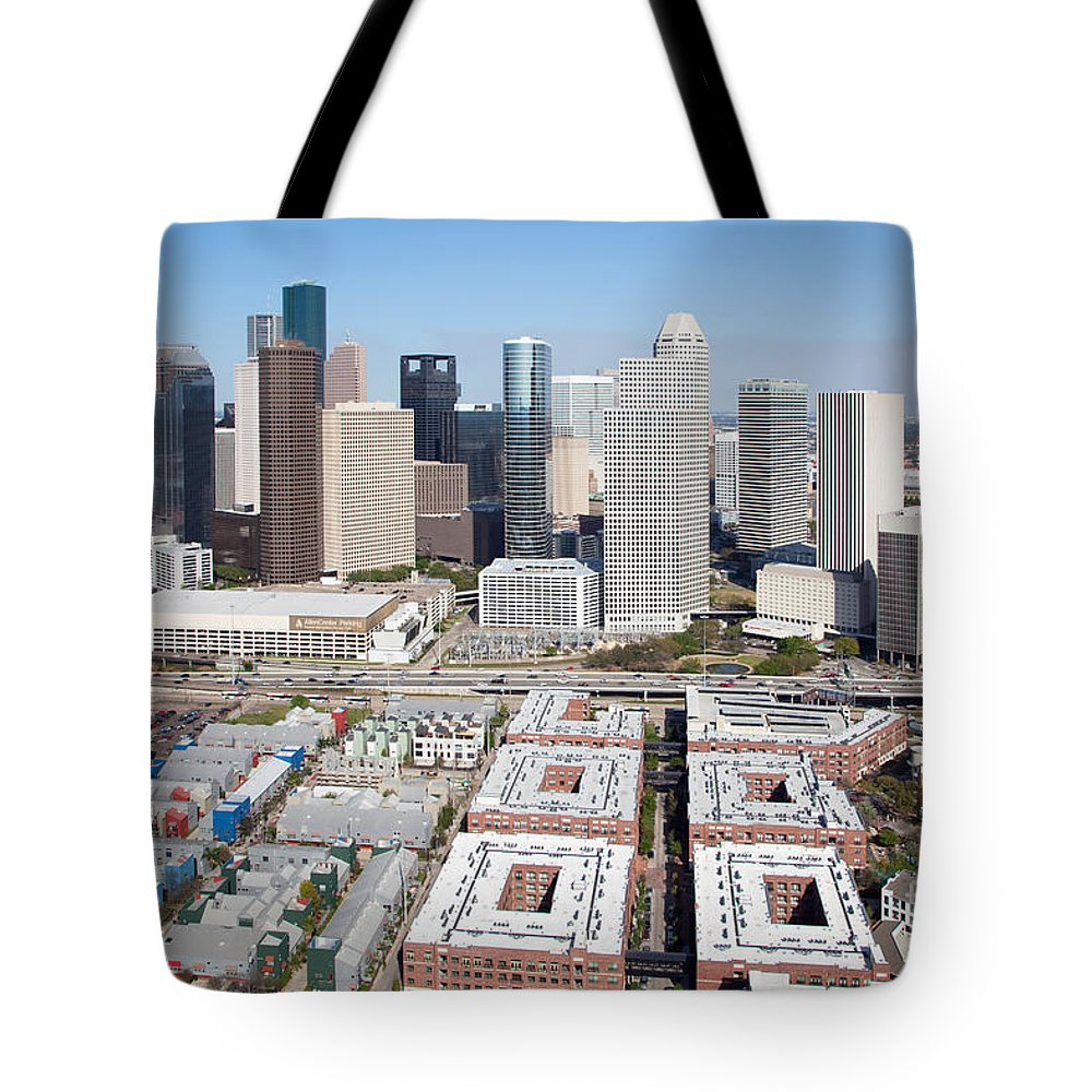 Houston Tote Bag featuring the photograph Aerial Of The Houston Skyline by Bill Cobb