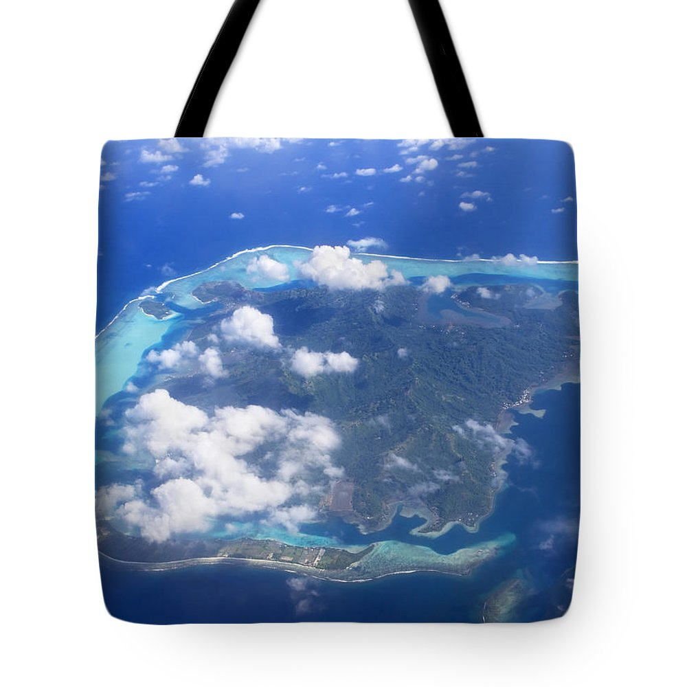 Above Tote Bag featuring the photograph Aerial Over Atoll by M Swiet Productions