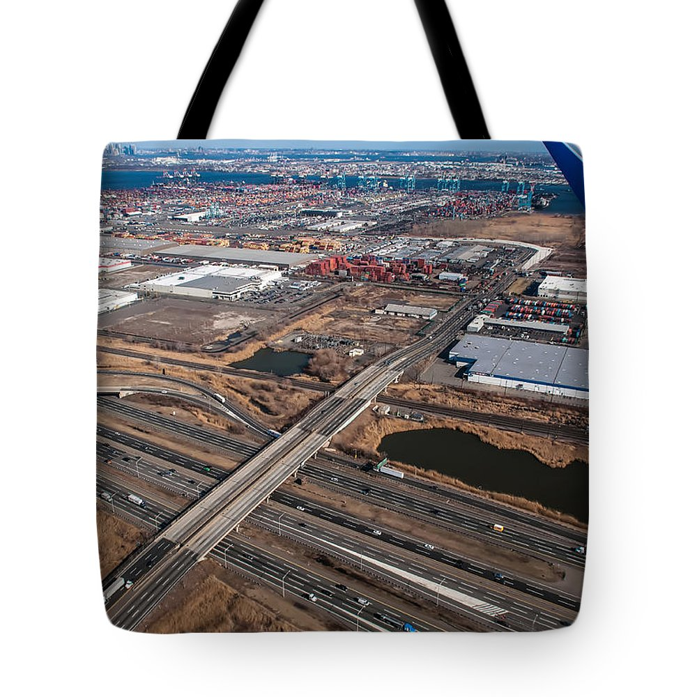 Aerial Tote Bag featuring the photograph Aerial Over Newark by Alex Grichenko