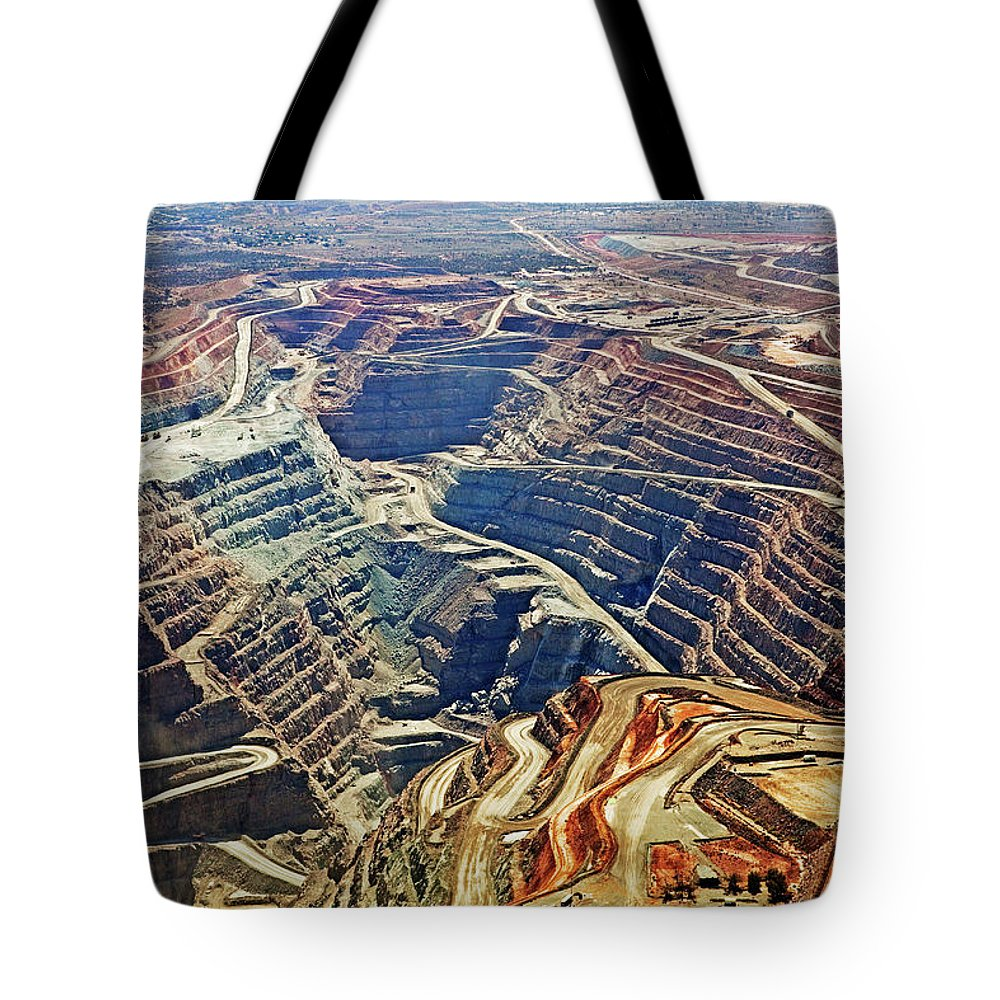 Extreme Terrain Tote Bag featuring the photograph Aerial View , Kalgoorlie Super Pit Gold by John W Banagan
