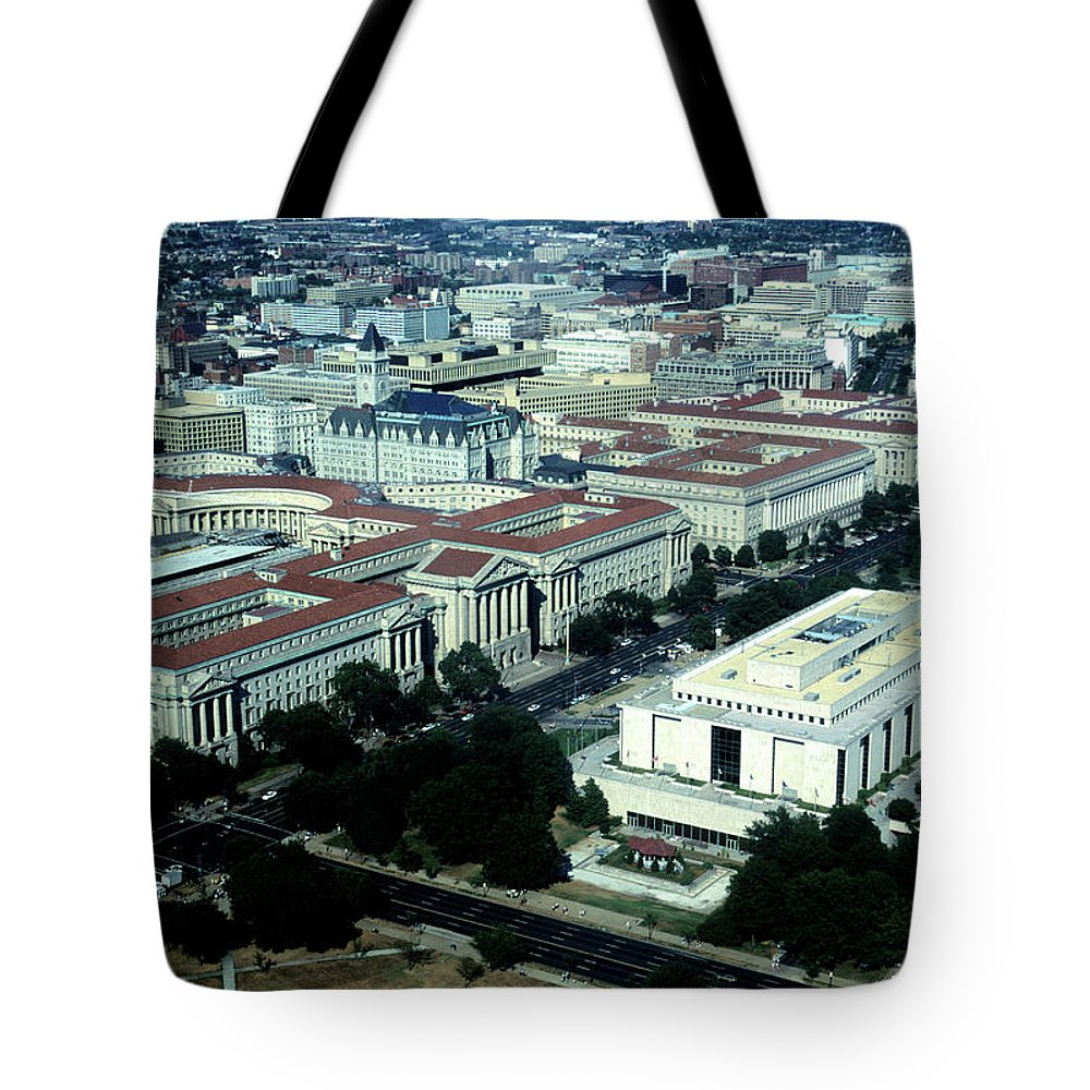 Downtown District Tote Bag featuring the photograph Aerial View Of Constitution Avenue by Hisham Ibrahim