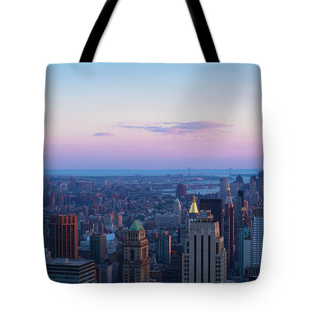 Tranquility Tote Bag featuring the photograph Aerial View Of Empire State And Midtown by Future Light