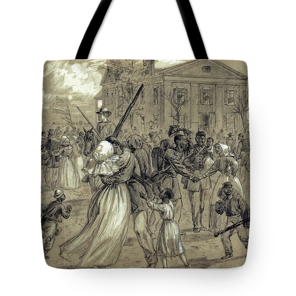 african American Tote Bag featuring the photograph African American Soldiers Return Home From War - 1866 by Daniel Hagerman