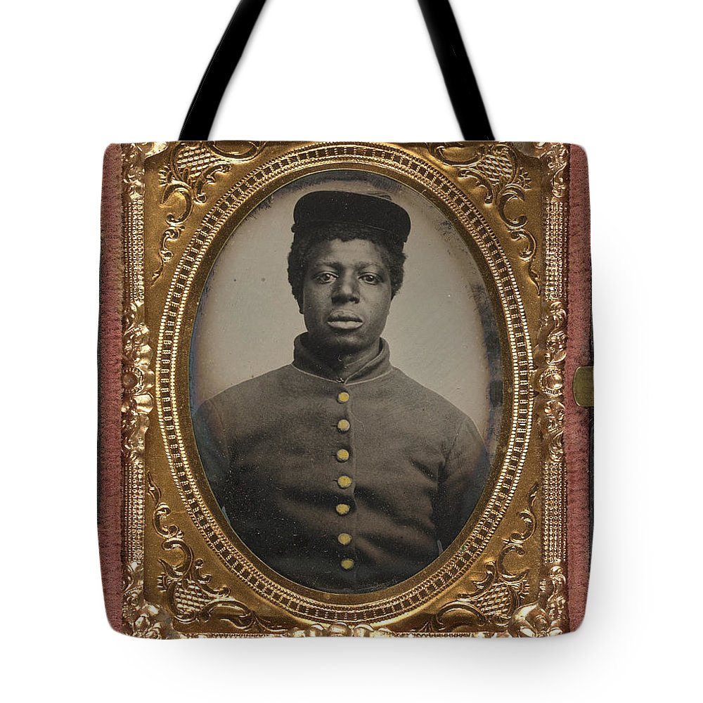 History Tote Bag featuring the photograph African American Union Soldier by History Cases