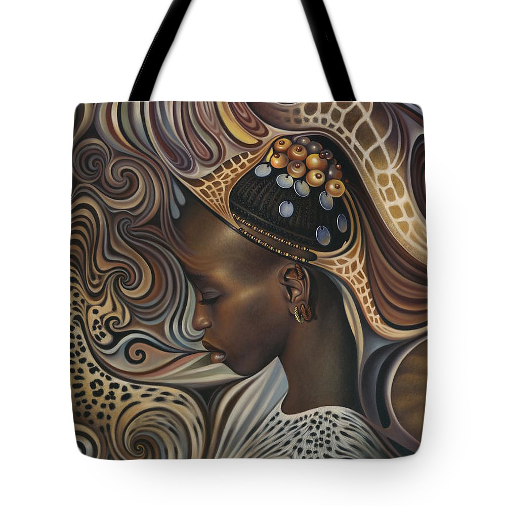 African Tote Bag featuring the painting African Spirits II by Ricardo Chavez-Mendez